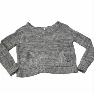 Free People Cropped Knit Oversized Grey Sweater M